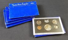 5 U.S. PROOF SETS 1968-1972
