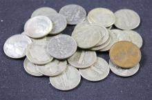 MERCURY AND ROOSEVELT DIMES (MOSTLY SILVER) AND LINCOLN WHEAT CENT