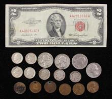 MIXED LOT INCLUDING SERIES 1953 TWO DOLLAR RED SEAL NOTE, WASHINGTON QUARTERS (2 SILVER), MERCURY AND ROOSEVELT DIMES, INDIAN HEAD C...