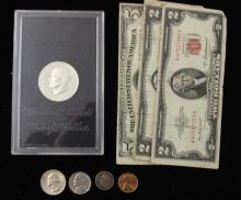 MIXED LOT INCLUDING 1971 EISENHOWER PROOF, SERIES 1953 FIVE DOLLAR SILVER CERTIFICATE, SERIES 1928 TWO DOLLAR RED SEAL NOTE, SERIES...
