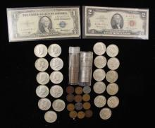 MIXED LOT INCLUDING SERIES 1935 ONE DOLLAR SILVER CERTIFICATE, SERIES 1963 TWO DOLLAR RED SEAL NOTE, (22) 40% KENNEDY HALF DOLLARS,...