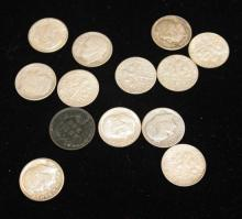 12 SILVER ROOSEVELT DIMES AND 1 INDIAN HEAD CENT