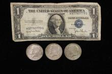 SERIES 1935 ONE DOLLAR SILVER CERTIFICATE AND (3) 40% KENNEDY HALF DOLLARS