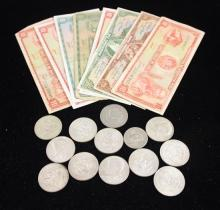 (11) 40% KENNEDY HALF DOLLARS, FOREIGN CURRENCY AND COINS