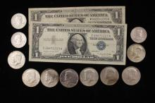 2 SERIES 1957 ONE DOLLAR SILVER CERTIFICATES, 3 SUSAN B ANTHONY DOLLARS, AND (7) 40% KENNEDY HALF DOLLARS