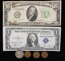 MIXED LOT INCLUDING SERIES 1934 TEN DOLLAR FEDERAL RESERVE NOTE, SERIES 1935 ONE DOLLAR SILVER CERTIFICATE, WASHINGTON QUARTER, AND...