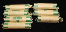 †6 ROLLS ROOSEVELT SILVER DIMES AND 1 PARTIAL ROLL WITH 43 DIMES *tax exempt*