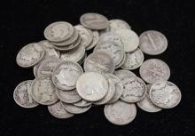 †44 MERCURY AND ROOSEVELT SILVER DIMES *tax exempt*