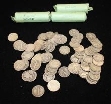 3 ROLLS MERCURY AND ROOSEVELT DIMES AND 72 LOOSE DIMES, MOSTLY SILVER