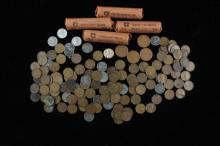 LOT LINCOLN WHEAT CENTS INCLUDING 4 ROLLS AND STEEL
