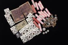 MIXED LOT INCLUDING LINCOLN WHEAT AND MEMORIAL CENTS (15 ROLLS AND LOOSE),  BUFFALO AND V NICKELS, AND FOREIGN CURRENCY