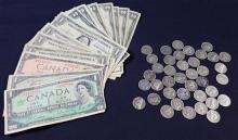 MIXED LOT INCLUDING 9 TWO DOLLAR RED SEAL NOTES (VARIOUS DATES), 4 SERIES 1957 ONE DOLLAR SILVER CERTIFICATES, AND CANADIAN NOTES AN...