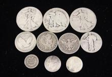 †3 WALKING LIBERTY SILVER HALF DOLLARS, 4 STANDING LIBERTY AND BARBER SILVER QUARTERS, 2 SILVER DIMES, AND 1853O HALF DIME *tax exempt*