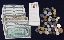 MIXED LOT INCLUDING SERIES 1963 FIVE DOLLAR RED SEAL NOTE, 4 SERIES 1953 TWO DOLLAR RED SEAL NOTES, 3 ONE DOLLAR SILVER CERTIFICATES...