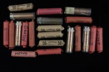 20 ROLLS LINCOLN WHEAT AND MEMORIAL CENTS AND 1 ROLL 1967 CANADIAN CENTS (SOME UNCIRCULATED)