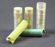 †5 ROLLS ROOSEVELT SILVER DIMES, VARIOUS DATES, MOSTLY UNC *tax exempt*