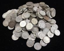 †268 SILVER DIMES INCLUDING 1 BARBER  *tax exempt*