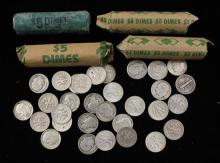 †4 ROLLS AND 31 LOOSE MERCURY AND ROOSEVELT SILVER DIMES  *tax exempt*