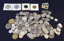 LOT FOREIGN COINS (SOME SILVER), TOKENS, AND POSTAGE STAMPS