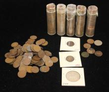 LOT INDIAN HEAD, LINCOLN WHEAT AND MEMORIAL, AND CANADIAN CENTS