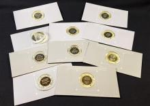 †10 FRANKLIN MINT STERLING SILVER PROOF ROUNDS *tax exempt*