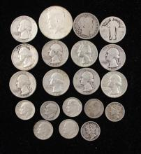 †MIXED LOT INCLUDING 1964 KENNEDY HALF DOLLAR, 11 BARBER AND WASHINGTON QUARTERS, AND 8 SILVER DIMES *tax exempt*