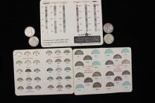 †MIXED LOT INCLUDING 4 WALKING LIBERTY AND FRANKLIN HALF DOLLARS, QUARTER SAVER WITH 14 SILVER COINS, AND DIME SAVERS WITH 60 SILVER...