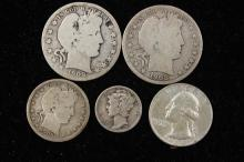 †MIXED LOT INCLUDING 2 BARBER HALF DOLLARS 1908O AND 1909S, 1909D BARBER QUARTER, WASHINGTON SILVER QUARTER, AND MERCURY SILVER DIME...