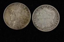 †2 U.S. SILVER DOLLARS INCLUDING 1900O MORGAN AND 1927 PEACE *tax exempt*