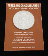 †TURKS AND CAICOS ISLANDS VICTORIA TWENTY CROWN STERLING SILVER ROUND *tax exempt*