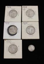 †5 STANDING LIBERTY SILVER QUARTERS AND 1908O BARBER DIME *tax exempt*