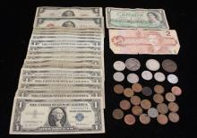 MIXED LOT INCLUDING 2 TWO DOLLAR RED SEAL NOTES, 15 ONE DOLLAR SILVER CERTIFICATES, FOREIGN CURRENCY NOTES, AND FOREIGN COINS