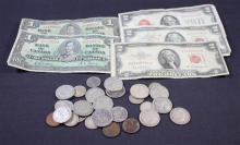 MIXED LOT INCLUDING 3 TWO DOLLAR RED SEAL NOTES, CANADIAN NOTES, INDIAN HEAD AND LINCOLN WHEAT CENTS, AND FOREIGN COINS (SOME SILVER)