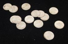†14 MERCURY AND ROOSEVELT DIMES *tax exempt*