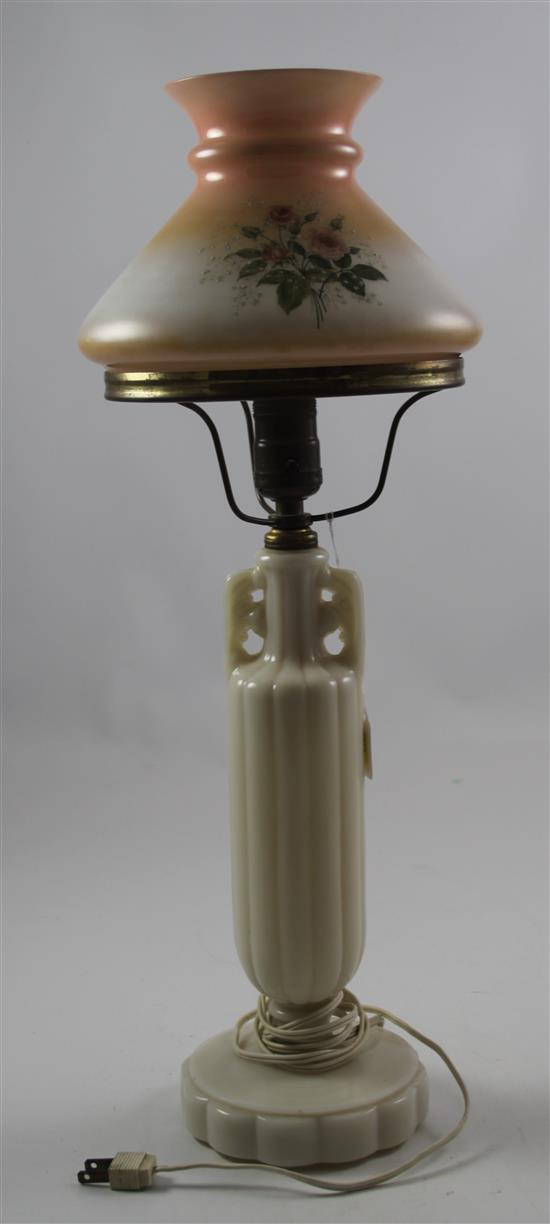 ALACITE LAMP WITH PAINTED SHADE, 21.5
