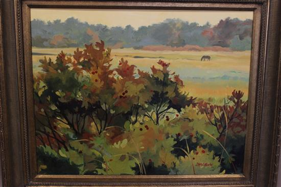 DEBORAH MCALLISTER OIL ON BOARD COLORADO LANDSCAPE, SIGNED LOWER RIGHT AND ENSCRIBED ON BACK, OVERALL SIZE 30