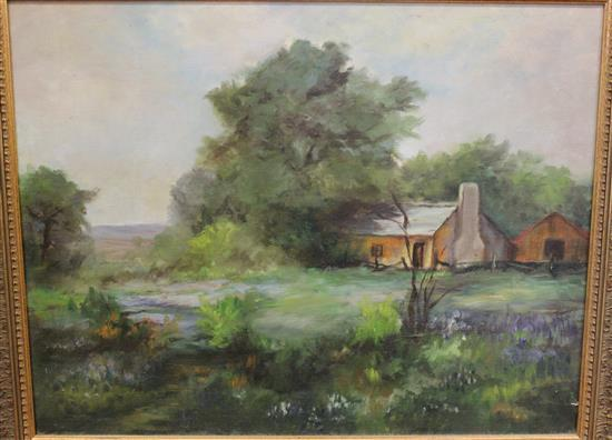 UNSIGNED OIL ON CANVAS FARM LANDSCAPE, OVERALL SIZE 27 1/2