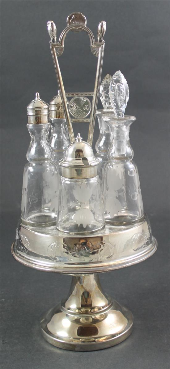 SILVERPLATE CASTOR SET WITH MATCHING ETCHED BOTTLES, 16