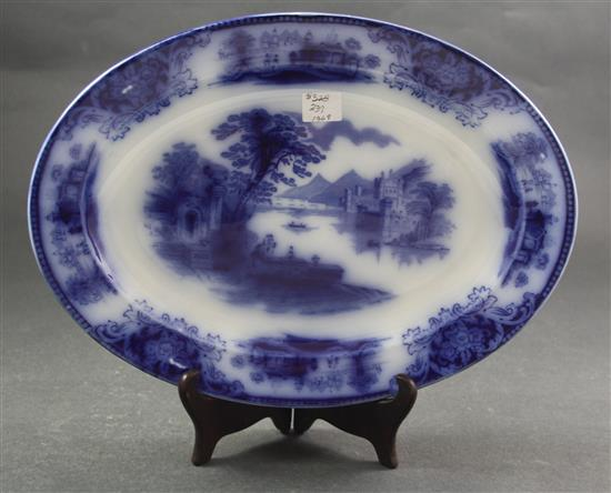 FLOW BLUE SCENIC PLATTER WITH CASTLE, 13.5