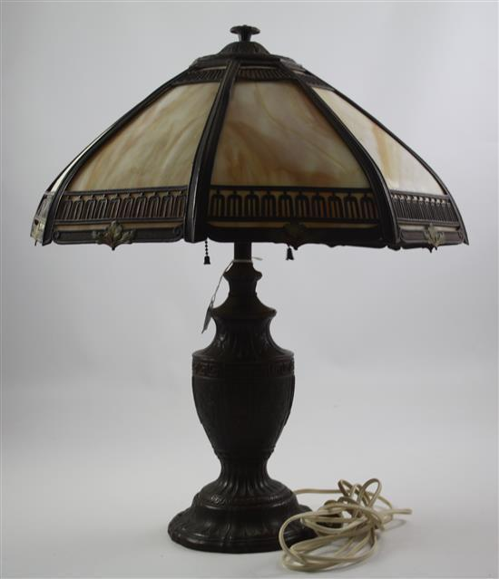 VICTORIAN URN SHAPED METAL LAMP WITH CARAMEL SLAG GLASS SHADE, 22