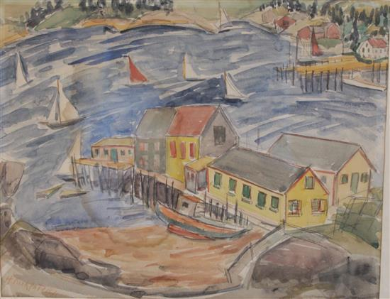HARRIET KIRKPATRICK (COLUMBUS, OHIO 1877-1962) WATERCOLOR HARBOR SCENE, SIGNED LOWER LEFT, OVERALL SIZE 15 1/4