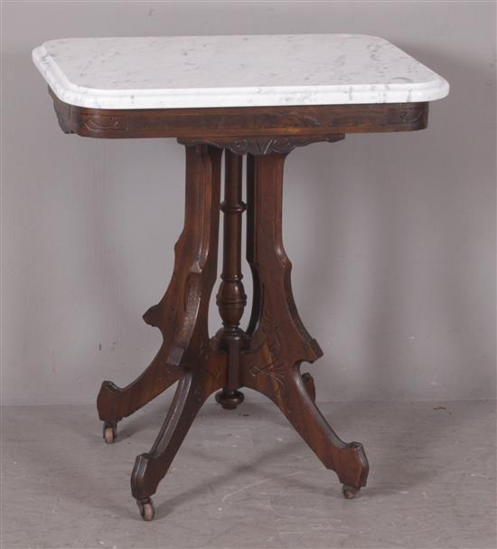 WALNUT VICTORIAN PARLOR TABLE WITH WHITE MARBLE TOP, 27