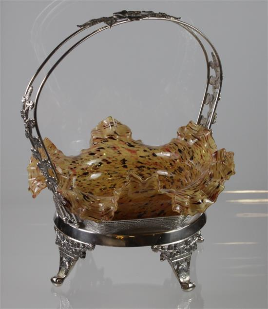 VICTORIAN GLASS BRIDE'S BASKET IN NON-MATCHING SILVERPLATE FRAME, 12
