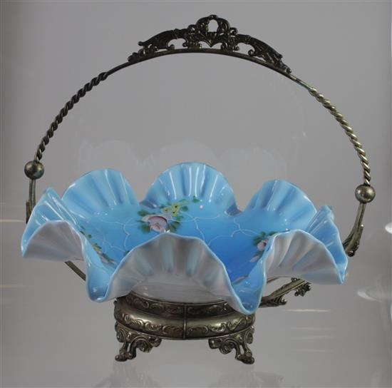 VICTORIAN BLUE CASED GLASS BRIDE'S BASKET IN SILVERPLATE FRAME, 12.5