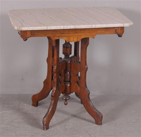 WALNUT EASTLAKE VICTORIAN PARLOR TABLE WITH PINK AND GRAY MARBLE TOP, 30.5