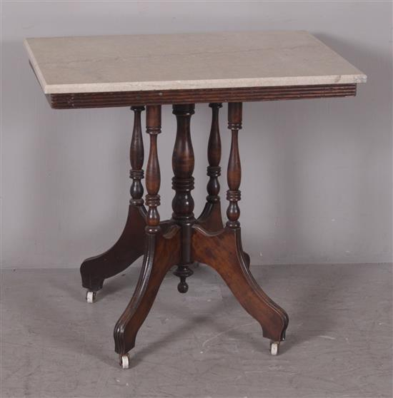 VICTORIAN PARLOR TABLE WITH BEIGE MARBLE TOP, 30