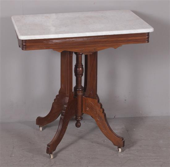 WALNUT EASTLAKE VICTORIAN PARLOR TABLE WITH GRAY AND WHITE MARBLE TOP, 30