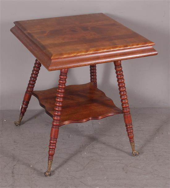 SQUARE MAPLE STAND WITH LOWER SHELF, TURNED LEGS, AND GLASS BALL AND CLAW FEET, 24