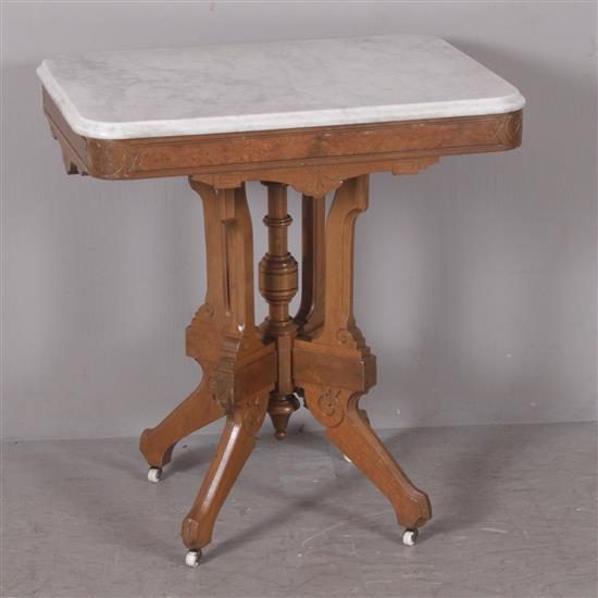 WALNUT VICTORIAN PARLOR TABLE WITH GRAY AND WHITE MARBLE TOP, 21