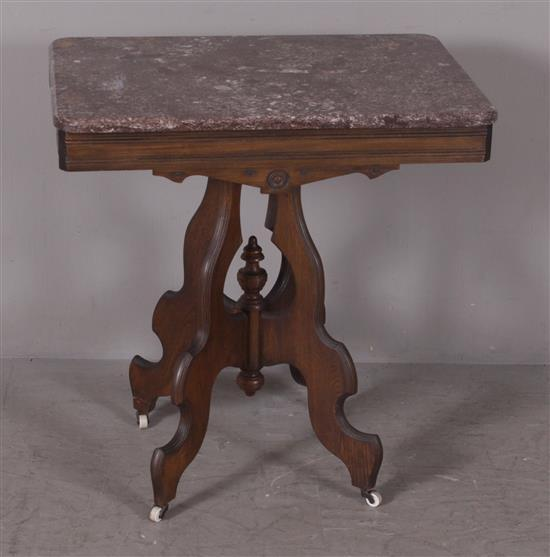 VICTORIAN PARLOR TABLE WITH MAROON MARBLE TOP, 28
